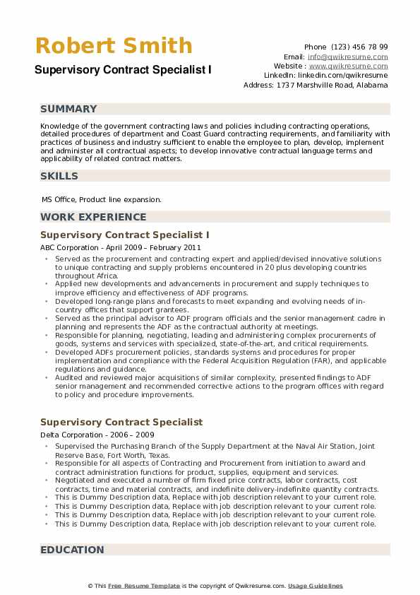 Supervisory Contract Specialist Resume example