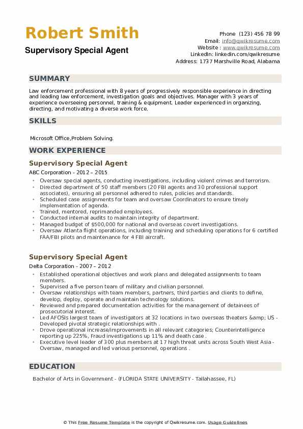 Supervisory Special Agent Resume example