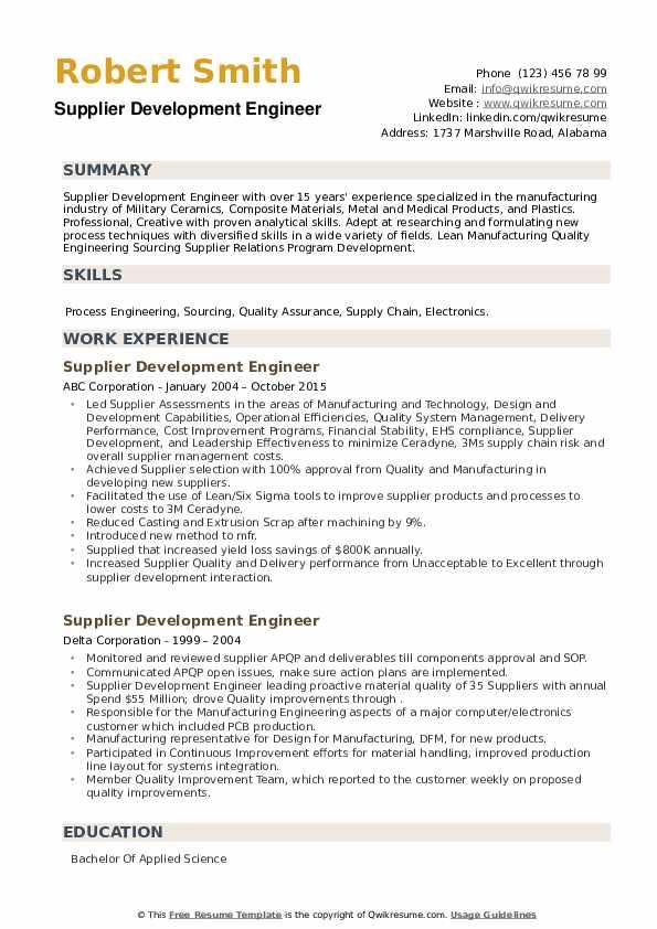 Supplier Development Engineer Resume example