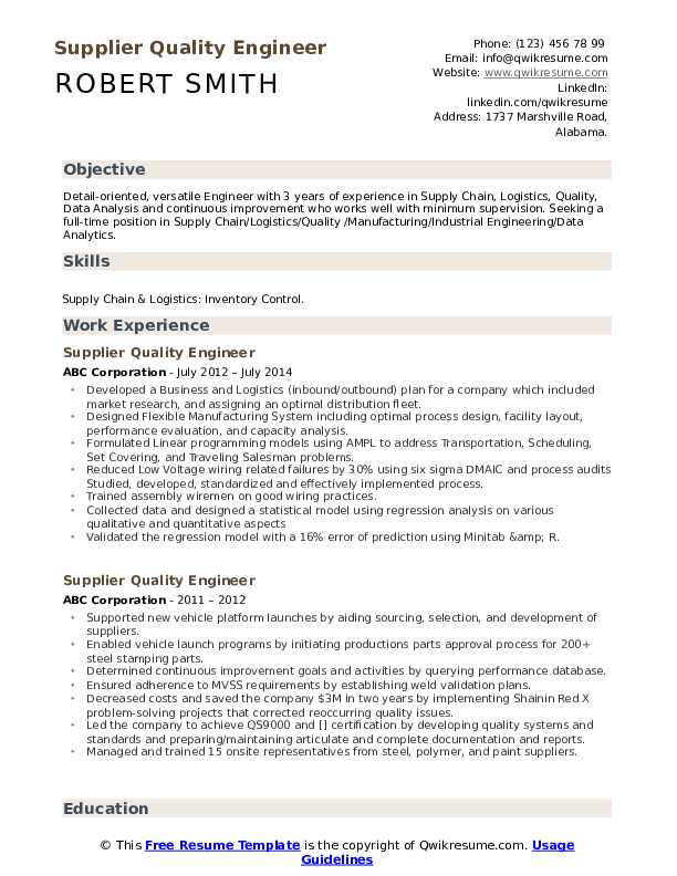 Supplier Quality Engineer Resume Model