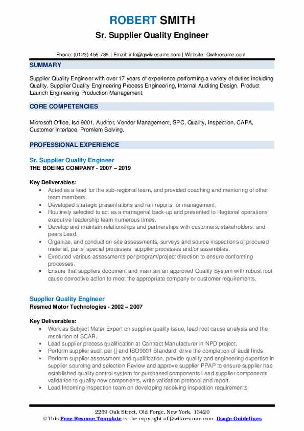 Sr. Supplier Quality Engineer Resume Template