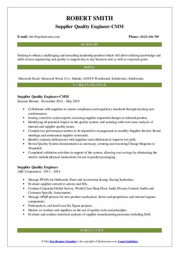 Supplier Quality Engineer-CMM Resume Example