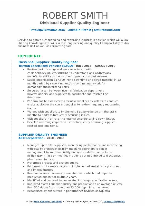 Divisional Supplier Quality Engineer  Resume Template