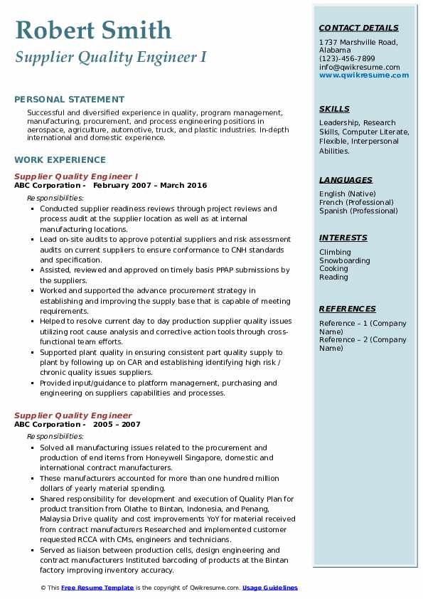 Supplier Quality Engineer I Resume Format