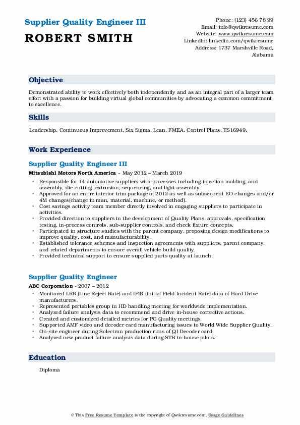 Supplier Quality Engineer III Resume Sample