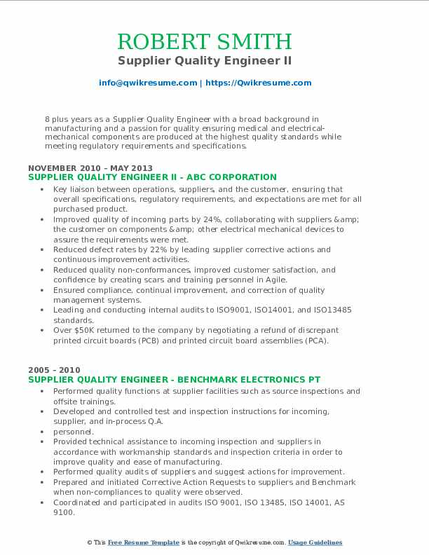 Supplier Quality Engineer II Resume Template