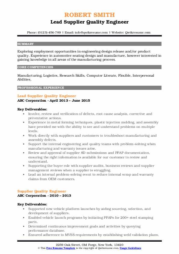 supplier quality engineer resume samples