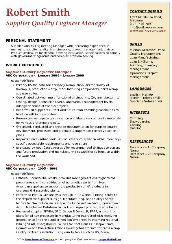 Supplier Quality Engineer Manager Resume Template