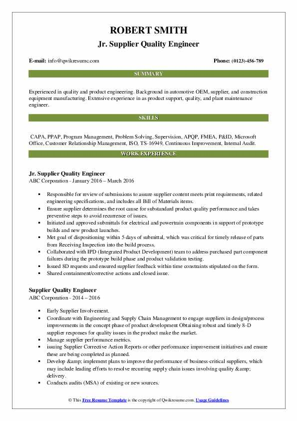 Jr. Supplier Quality Engineer Resume Sample