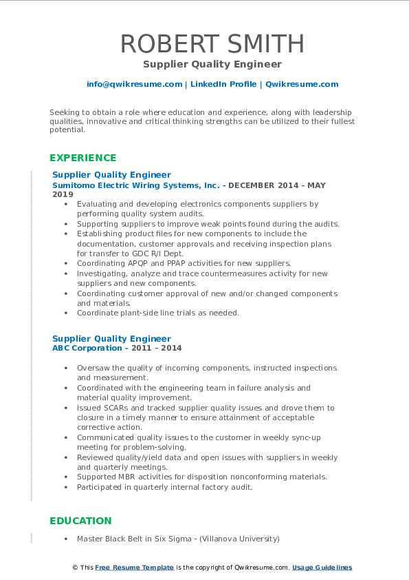 Quality Engineer Resume Automotive Best Resume Ideas