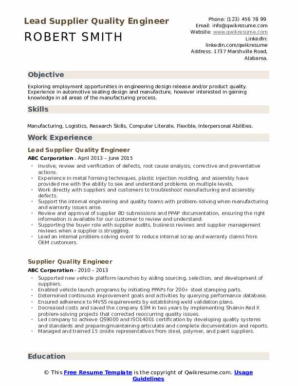 Manufacturing Quality Engineer Resume Samples Qwikresume