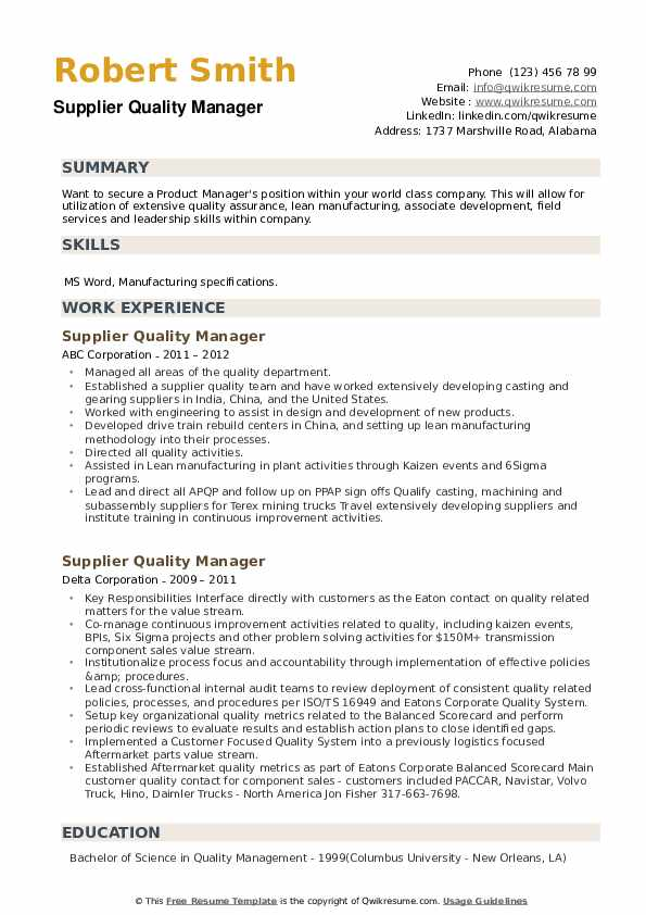 Supplier Quality Manager Resume example