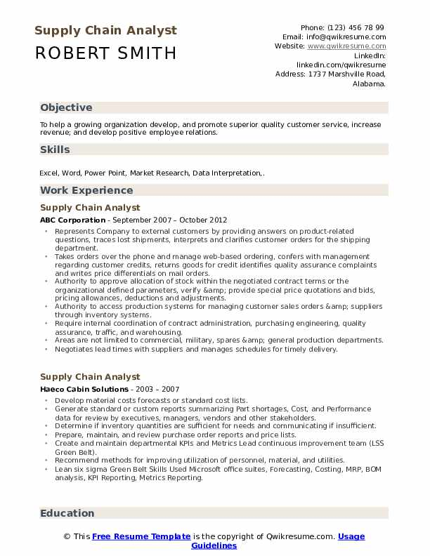 Supply Chain Analyst Resume Samples Qwikresume
