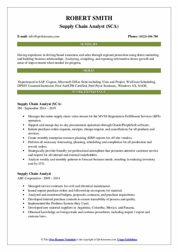 Supply Chain Analyst (SCA) Resume Template