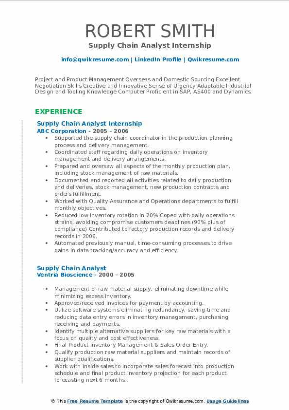 Supply Chain Analyst Internship Resume Example