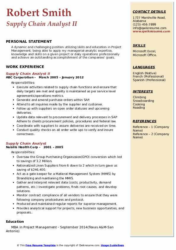 Supply Chain Analyst II Resume Sample