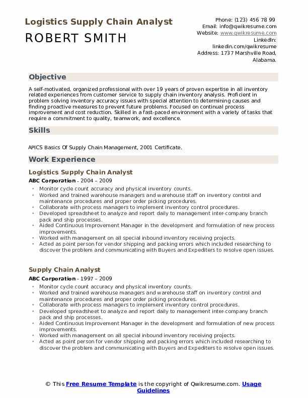 Logistics Supply Chain Analyst Resume Format
