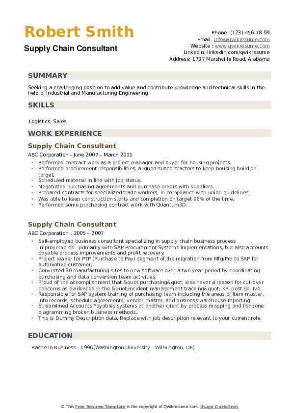 supply chain consultant resume samples