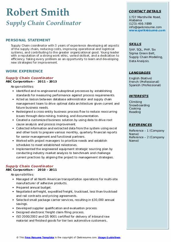 supply chain coordinator resume samples