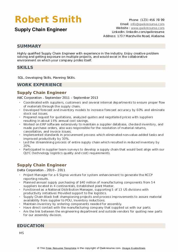 Supply Chain Engineer Resume example