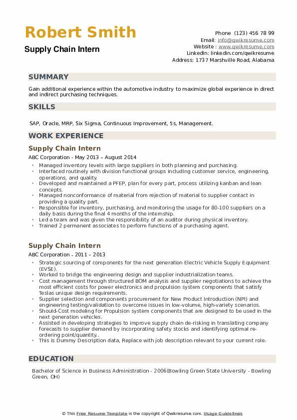 Supply Chain Intern Resume Samples Qwikresume