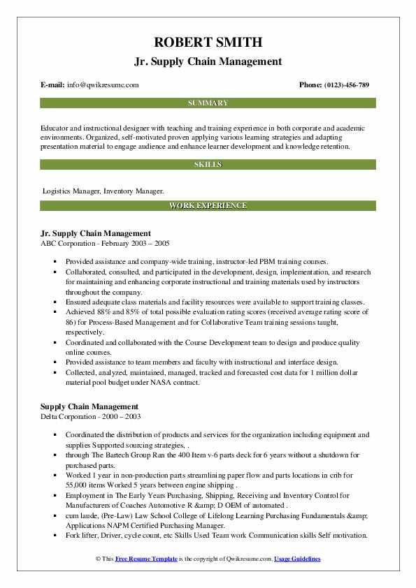 Supply Chain Management Resume Samples | QwikResume