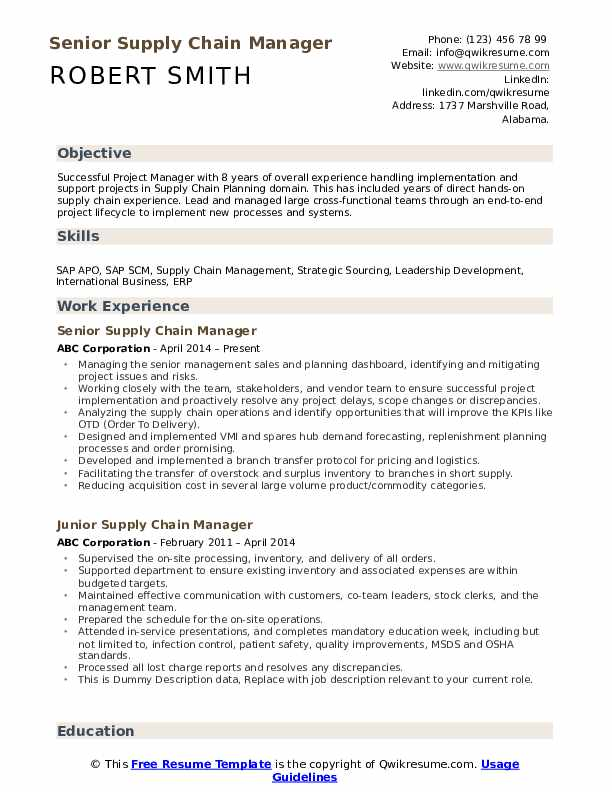 Senior Supply Chain Manager Resume Template