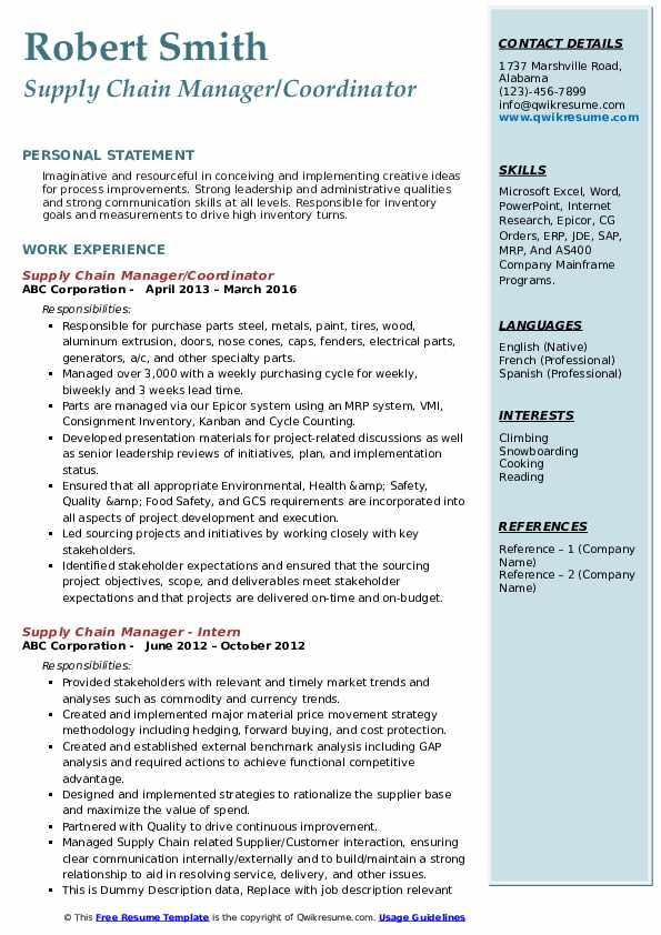 Supply Chain Manager/Coordinator Resume Model