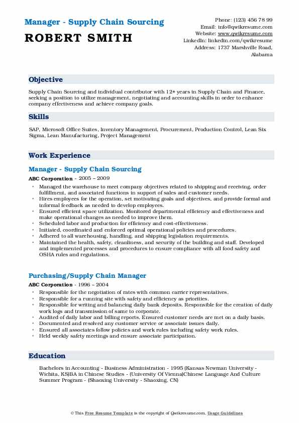 Manager - Supply Chain Sourcing Resume Model