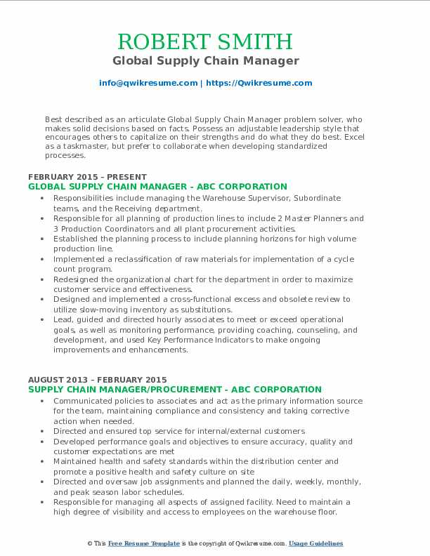 Global Supply Chain Manager Resume Model