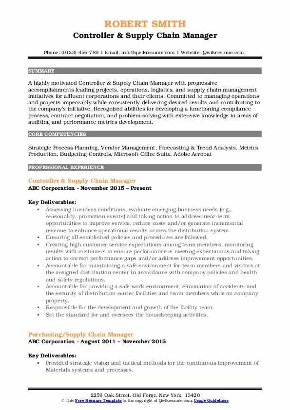 Controller & Supply Chain Manager Resume Example