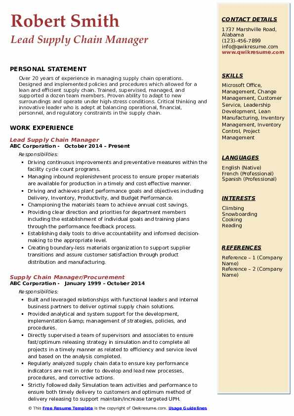 Lead Supply Chain Manager Resume Model