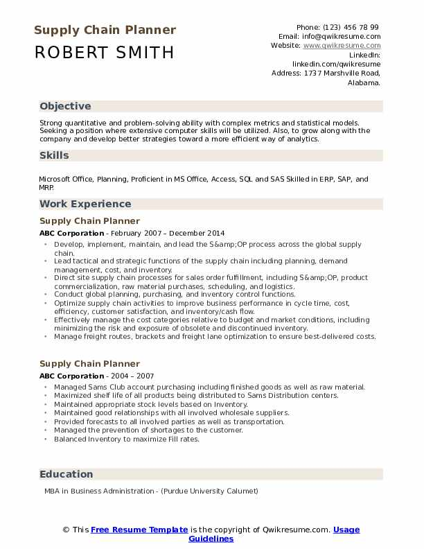 Supply Chain Planner Resume Template