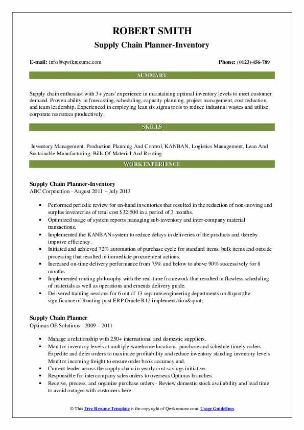 Supply Chain Planner-Inventory Resume Template