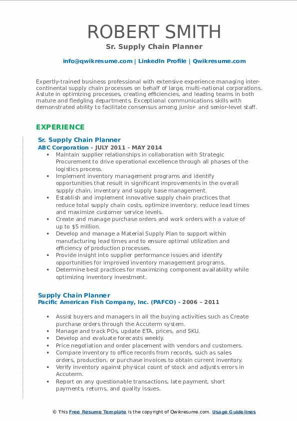 Sr. Supply Chain Planner Resume Model