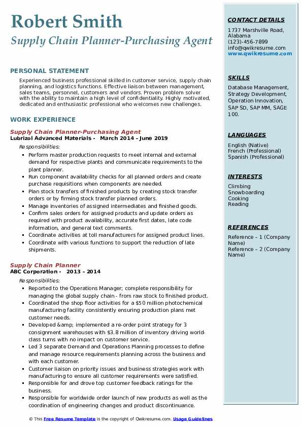 Supply Chain Planner-Purchasing Agent Resume Template