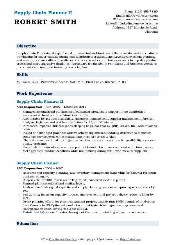Supply Chain Planner II Resume Example