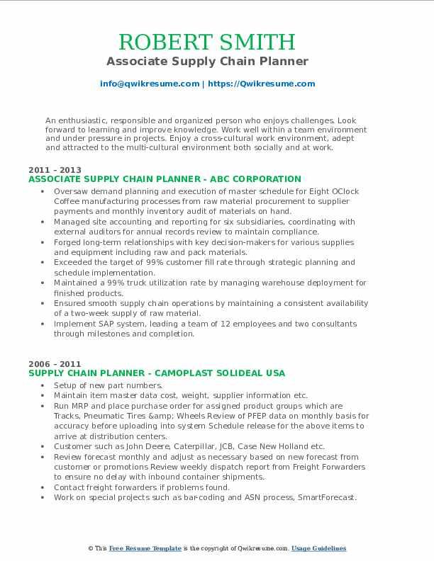 Associate Supply Chain Planner Resume Format