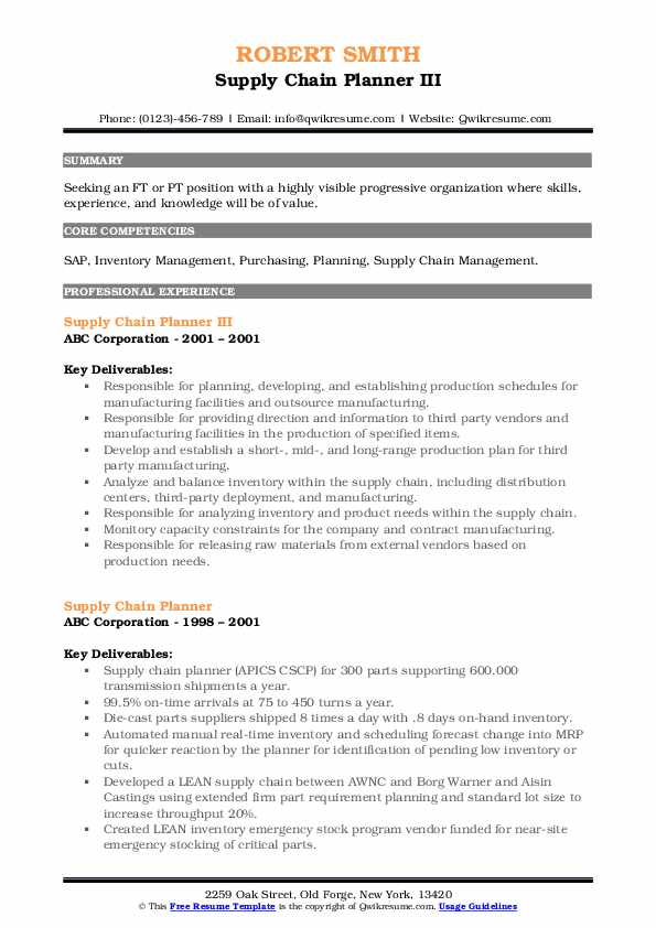 Supply Chain Planner III Resume Example
