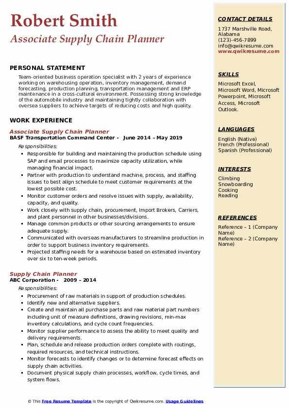 Associate Supply Chain Planner Resume Model