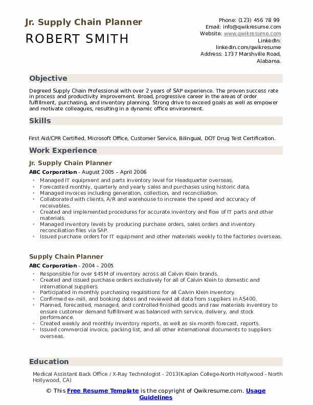Jr. Supply Chain Planner Resume Model
