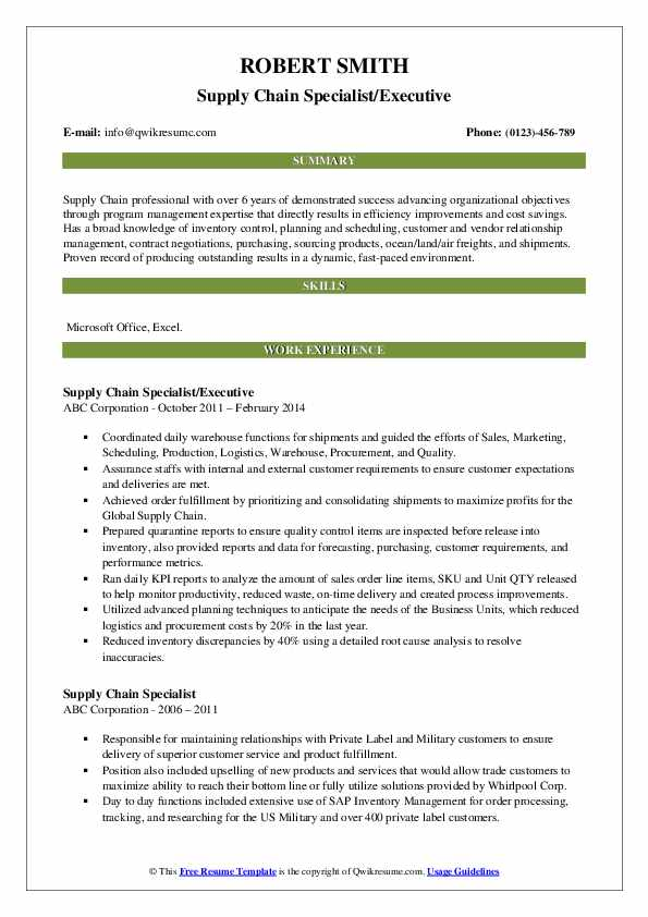 Supply Chain Specialist Resume Samples Qwikresume