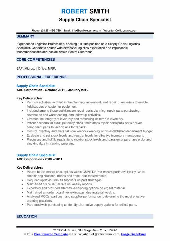 Supply Chain Specialist Resume example