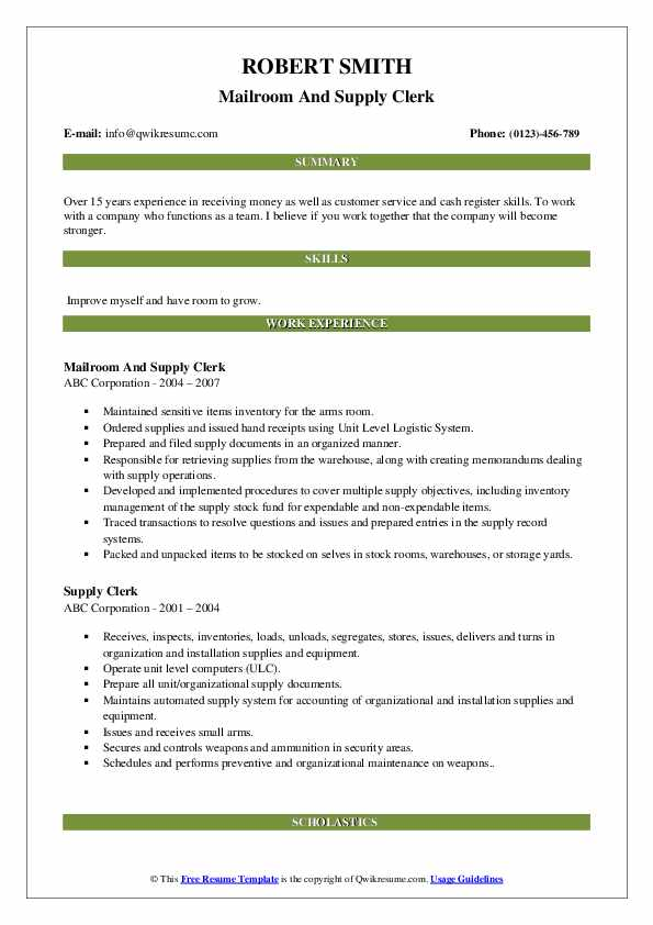 Mailroom And Supply Clerk Resume Format