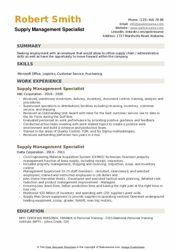 Supply Management Specialist Resume example