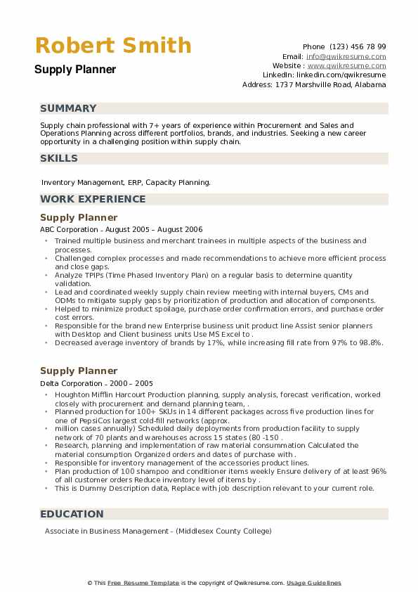 Supply Planner Resume example