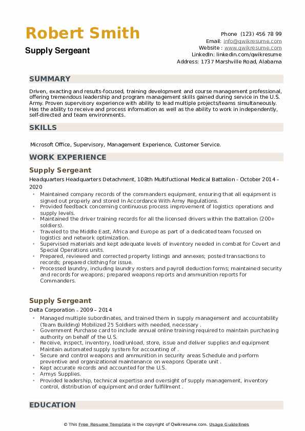 Supply Sergeant Resume example