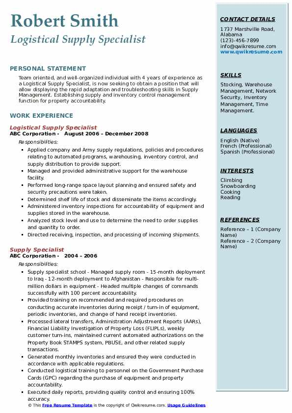 Logistical Supply Specialist Resume Model