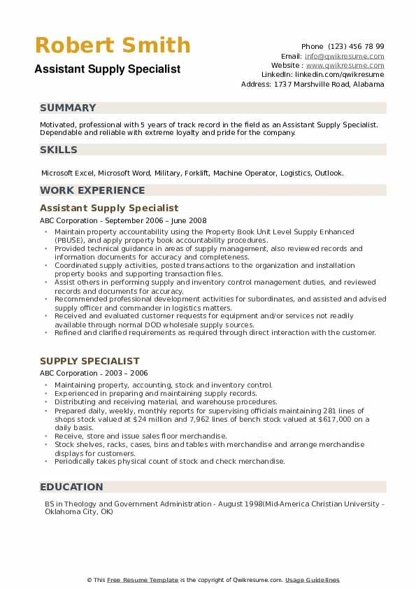 Assistant Supply Specialist Resume Model