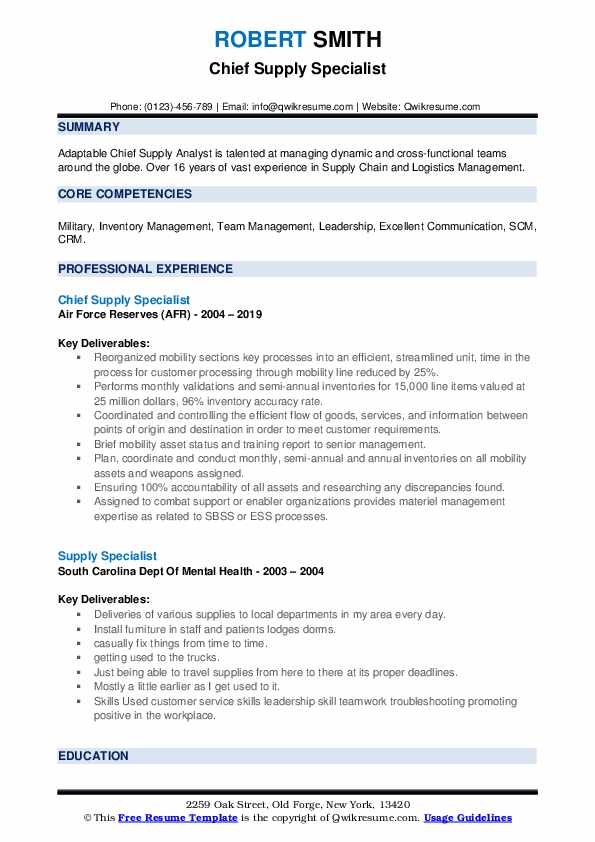 Chief Supply Specialist Resume Sample